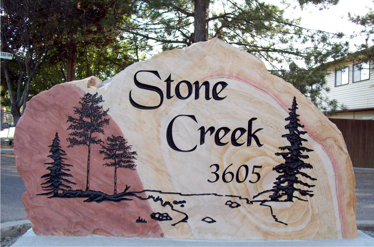 Phone Stand Designs : Community sign town carved in stone natural rock