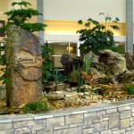 Rock Fountain Lobby Planter Side View