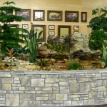 Lobby Planter with Stone Fountains