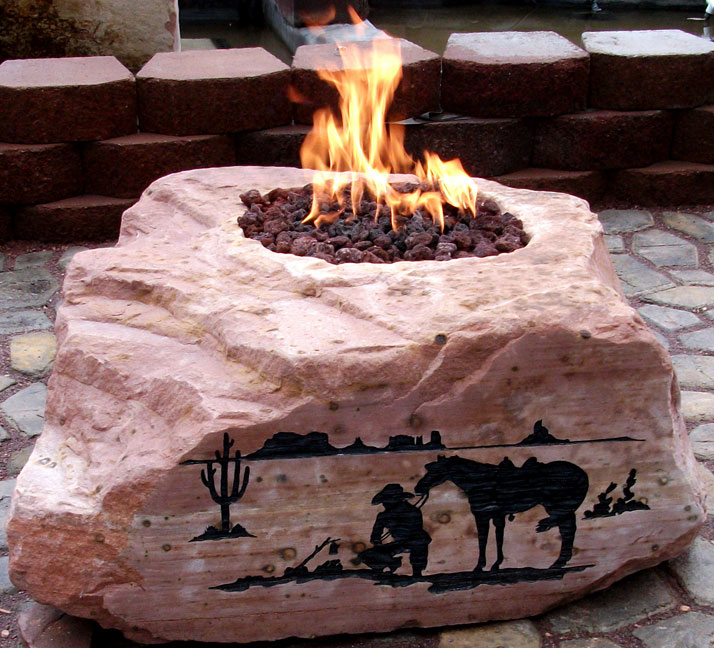 Garden Stand Designs : Rock boulder outdoor firepit natural designs